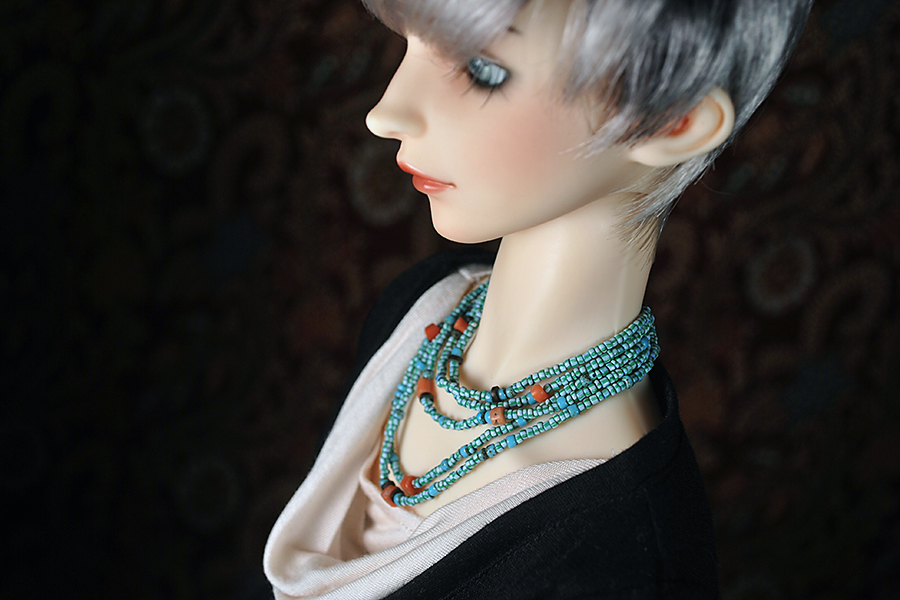 the horned moon with one bright star orangebabydolly venetian glass african trade coral necklace handcrafted bjd volks sdgraffiti cristal